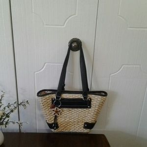 Brighton Straw Bucket Tote  with Leather Trim